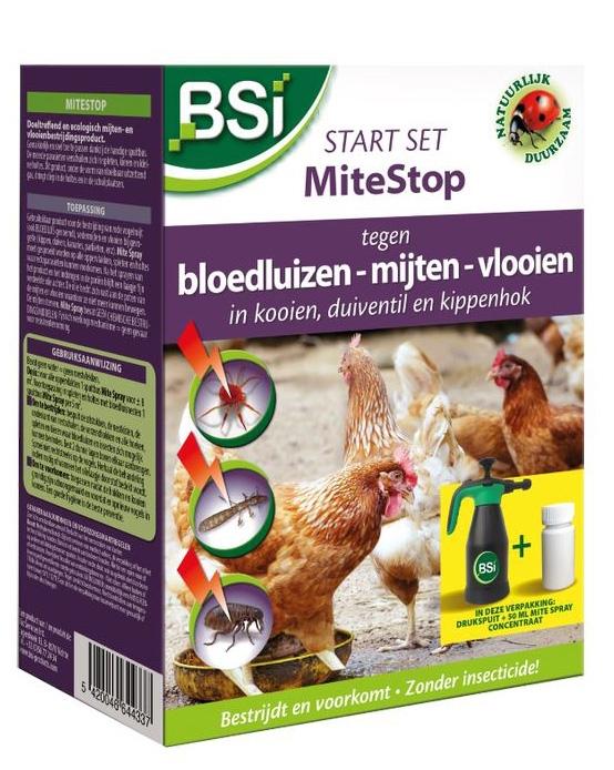 Bloedluizen kippen bestrijden en voorkomen met MiteStop + drukspuit