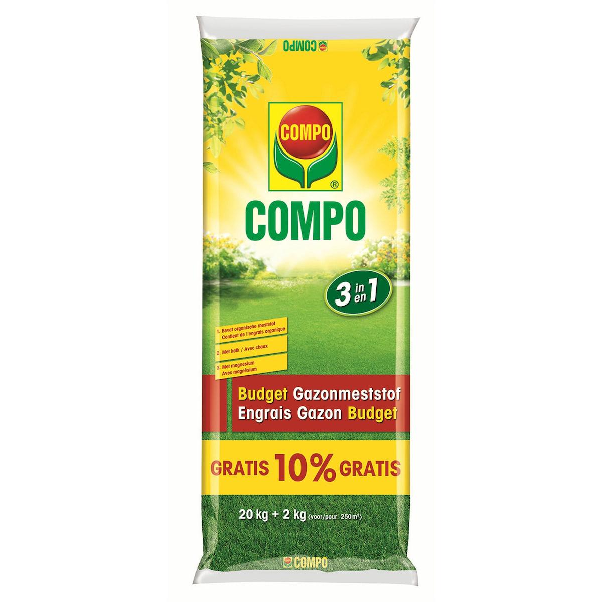 Compo Budget Gazonmeststof 3 in 1 20 + 10% gratis