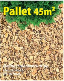Natuurlijke houtsnippers dennenschors per pallet 45m²