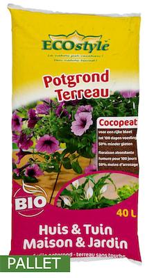 Pallet potgrond Ecostyle Cocopeat voor huis en tuin 40L