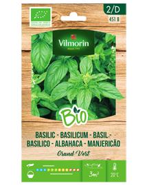 Bio kruiden zaden Basilicum Grand Vert 1g
