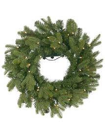 Kunststof Kerstkrans met lampjes Christmas Crown 61cm