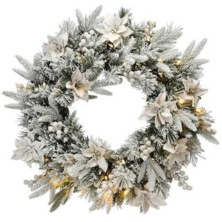 Kerstkrans met lichtjes en sneeuw Coly 61 cm