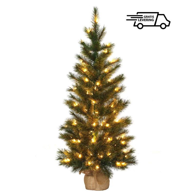 Kleine kunstkerstboom Fleecy met 100 LED lampjes 122 cm