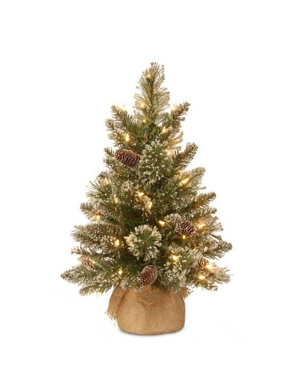Kleine kunstkerstboom met verlichting Glittery 61 cm