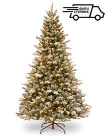 Besneeuwde kunstkerstboom met lampjes Golden Glitter 228cm
