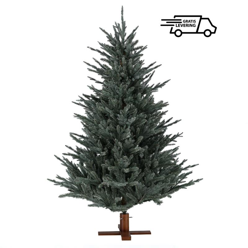 Donkergroene kerstboom met houten voet Frosty Blue 213 cm