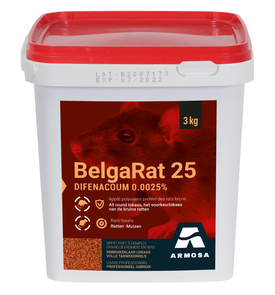 Professioneel rattengif BelgaRat rood graanlokaas 3kg