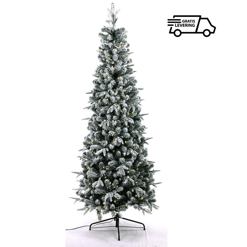 Smalle kunstkerstboom met sneeuw en lichtjes Aspy White 213 cm