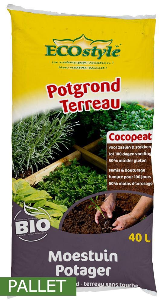 Pallet potgrond Ecostyle Cocopeat voor moestuin 40L