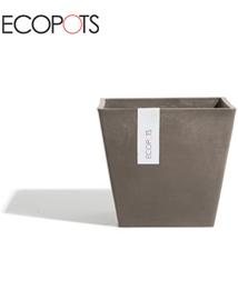 ECOPOTS Vierkante bloempot voor buiten Taupe 30x27cm