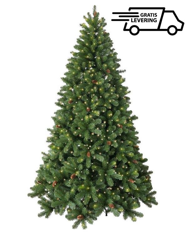Kunstkerstboom met LED en dennenappels Sparkles 228cm