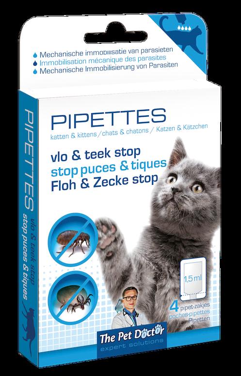 Pipet tegen vlooien en teken bij katten 4 x 1,5 ml