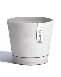 ECOPOTS Venice Ronde bloempot met drainagesysteem in Whitestone